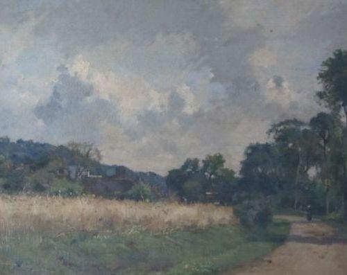 DAMOYE Pierre Emmanuel (1847 1916)  Paysage au champ de blé  Huile sur panneau s…