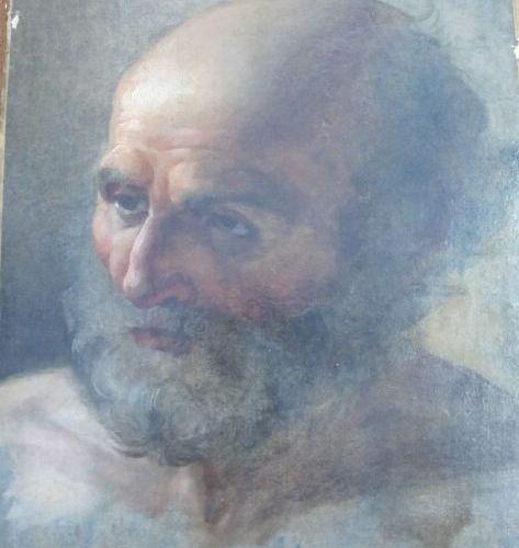 Ecole française vers 1770  Entourage de Greuze  Portrait d'homme barbu  Papier m…