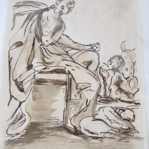 Vers 1800 dans le gout du XVIIe  Encre sur papier  Etude personnage  33 x 22 cm