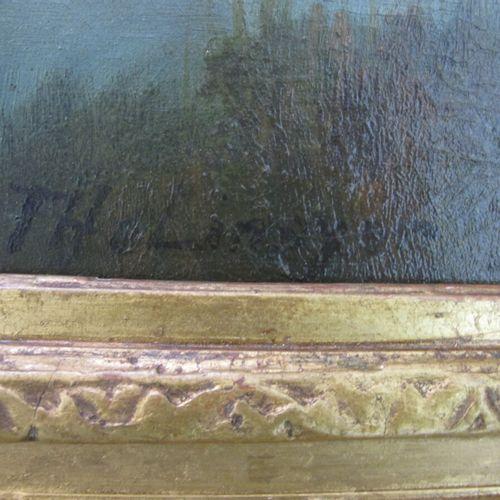 Ecole française XIXe  Paysage à la rivière  Huile sur toile, porte une signature…