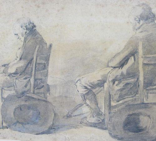 Ecole française fin XVIIIe siècle  Etude au chapeau  Crayon sur papier  Cachet s…