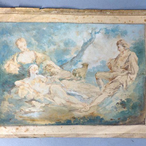 """""""Etude avec personnages""""   Aquarelle sur papier   16,5 cm x 24 cm"""