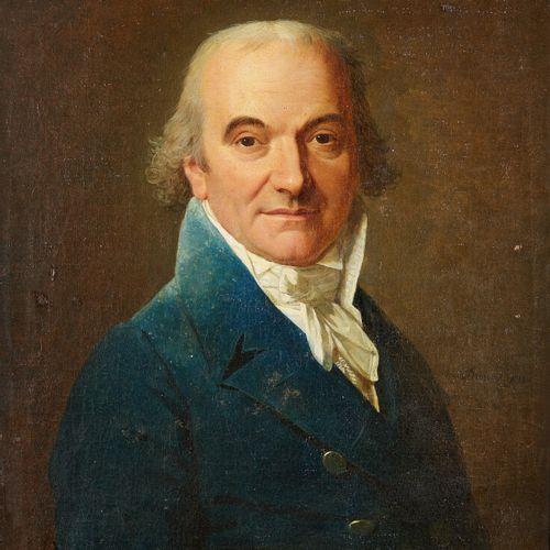 DUMONT***  Portrait d'homme à la veste bleue  Toile et châssis d'origine  Haut. …