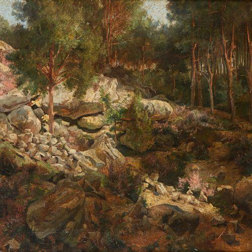 École de Barbizon, XIXème siècle  Paysage aux rochers  Huile sur toile  Initiale…