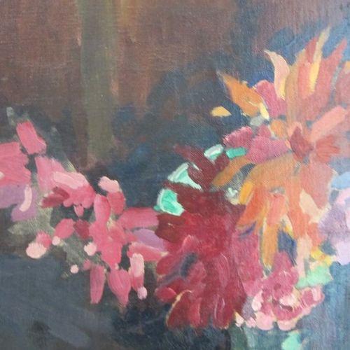 MAURICE BARBEY (1880 ?) ???  Nature morte aux bouquets de fleurs  Huile sur toil…