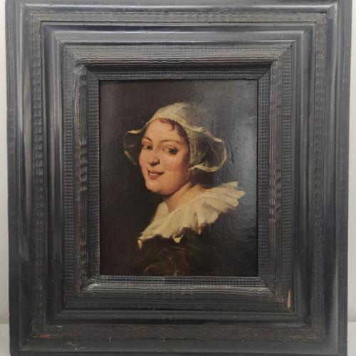 Ecole hollandaise du XIXe siècle  Portrait de femme  Huile sur Panneau  23 x 27,…