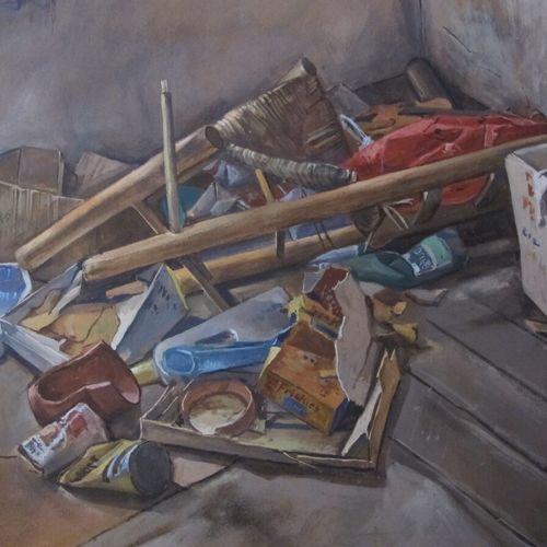 CARBONNEL  Le grenier  gouache sur papier brun  Haut. : 41 ; larg. : 49 cm  (en …