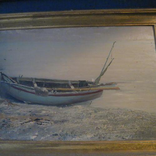 Ecole du XIXème siècle  barque sur la grève  Huile sur panneau, porte une signat…
