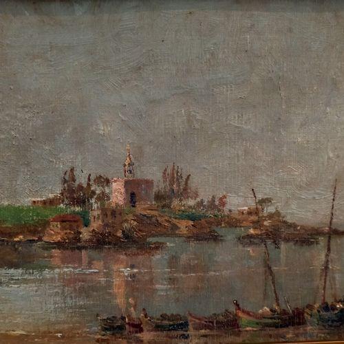 Ecole française XXe siècle  Vue d'un port en Italie  Huile sur toile marouflée s…