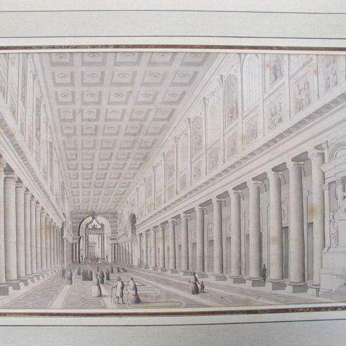Début XIXème  Intérieur de Santa Maria Maggiore  dessin au crayon  Haut. : 19 cm…
