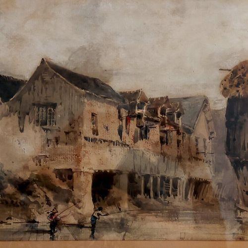 CICERI Eugène (1813 1890)  Jeune pêcheur  Lavis brun et aquarelle  Signéen bas à…