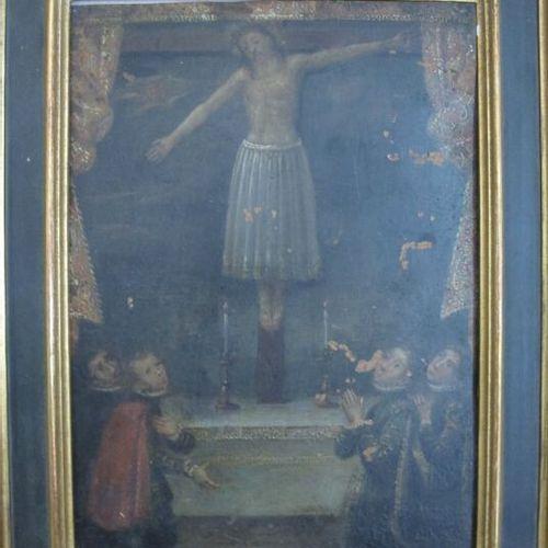 Christ  Huile sur cuivre  Haut. : 22 ; Larg. : 16.5 cm  (manques)