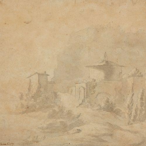 Ecole de Cornélis van POELENBURCH (Utrecht 1594 1667)  Vue d'un village en Itali…