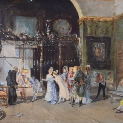 """Ecole du XIXème siècle  """"Scène animée de personnages dans un palais""""  Aquarelle …"""