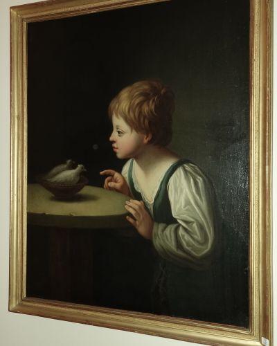 Ecole FRANCAISE du XIXème siècle, d'après Guido Reni  Jeune enfant aux colombes …