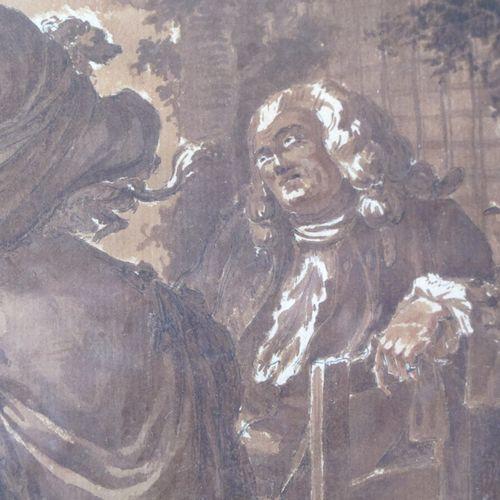 Ecole française du XVIIIème siècle  La chapardeuse  Plume et encre noire, lavis …