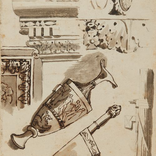 Ecole française vers 1800  Feuille d'étude figurant des guerriers romains au rec…