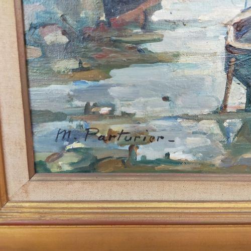 Marcel PARTURIER (1901 1976)  Le fond du port au Guilvinec  Huile sur toile.  Si…