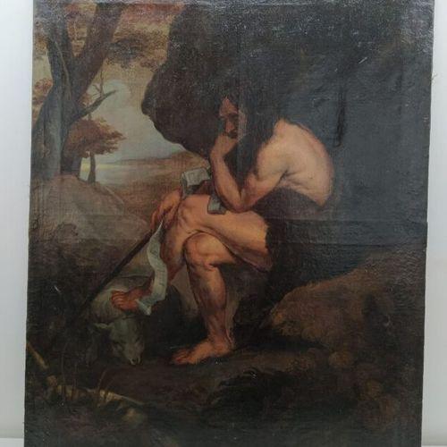 Ecole du XVIIIème  Saint Jean Baptiste  Huile sur toile  72 x 57 cm  (restaurati…