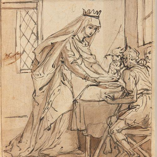 Ecole française de la deuxième moitié du XVIIème siècle  Sainte Elisabeth de Hon…