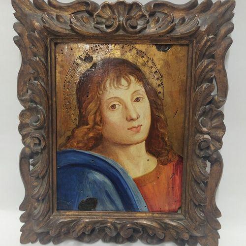 Dans le gout de Raphael, XIXe  Figure de Saint Jean  Panneau à fond or  24 x 18,…
