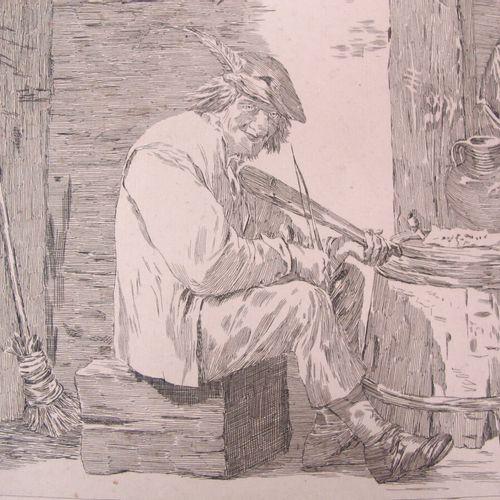 David Teniers (1582 1649) d'après  Le joueur de violon. Eau forte. 290,5 x 380