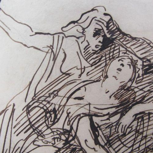 Ecole du XIXe  La mort de Sophonisbe  crayon et encre  16 x 12 cm