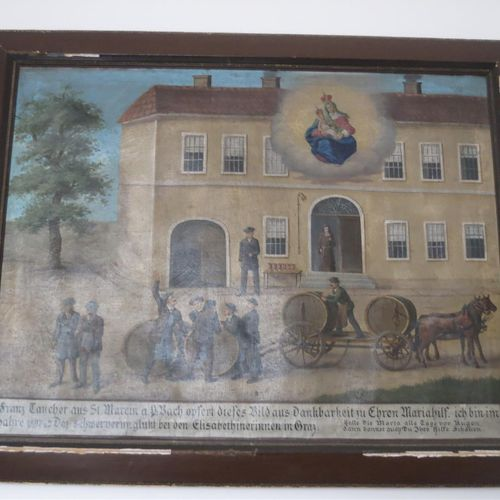 """Ecole Allemande naive du XIXème siècle  """"Apparition de la Vierge à l'Enfant""""  Hu…"""