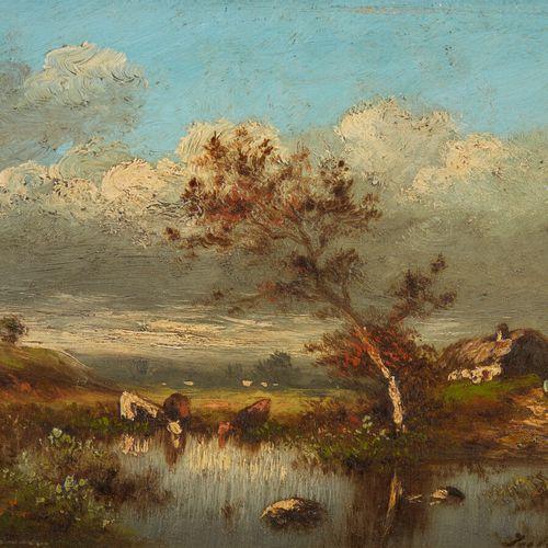 DUPRE Jules (1811 1889)  Vaches à la mare  Huile sur panneau, signée en bas à dr…