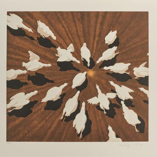 Victor Vasarely (1908 1997) Les Oies. Lithographie. 425 x 390. Impression en cou…