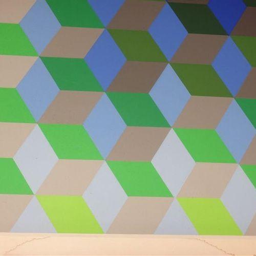 Victor Vasarely (1908 1997) Composition cinétique (bleu, vert et gris). Sérigrap…