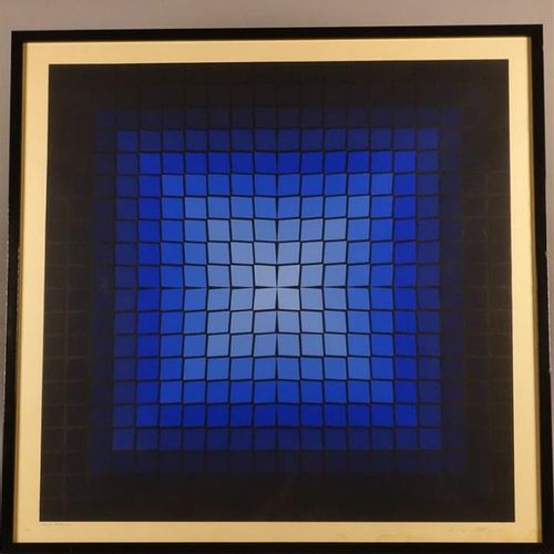 Victor Vasarely (1908 1997) Composition cinétique (bleu et noir). Sérigraphie en…