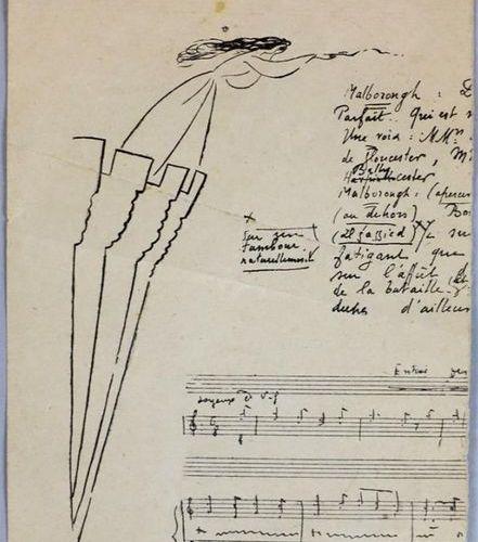 """Estampe titrée au tampon """"M. Georges Auric par M. Jean Cocteau"""". Haut. : 15,7 cm…"""