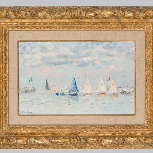 HAMBOURG, André (1909 Paris 1999 Paris). Segelboote auf ruhiger See. HAMBOURG, A…