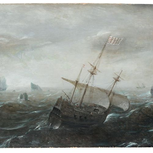 Aert Anthonisz. (appelé Antum) (attribué), Trois maître dans la mer déchaînée. C…