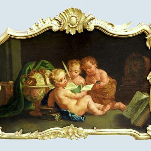 Barocke Darstellung dreier Putti Olio/tela, montato su pannello rigido. Tre putt…