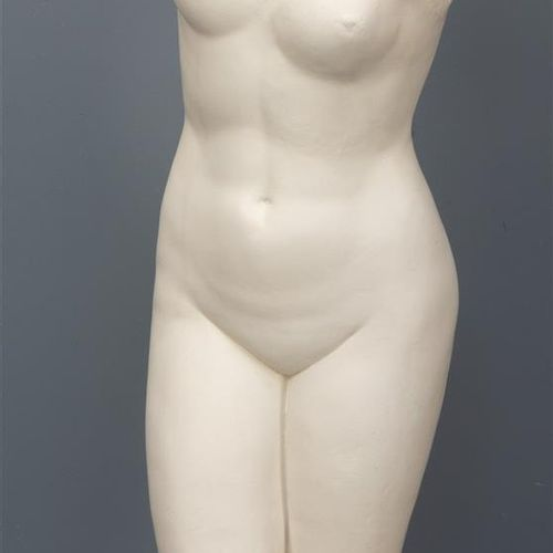 Une sculpture d'un torse de femme classique, en plâtre (B).  H. 83 cm