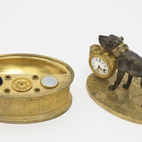 """桌钟 """"Porte Montre """"与ecritoire 1800年左右的巴黎/苏黎世,时钟制造商Christofle Zeller 青铜器,凿刻,亚光和闪亮的…"""