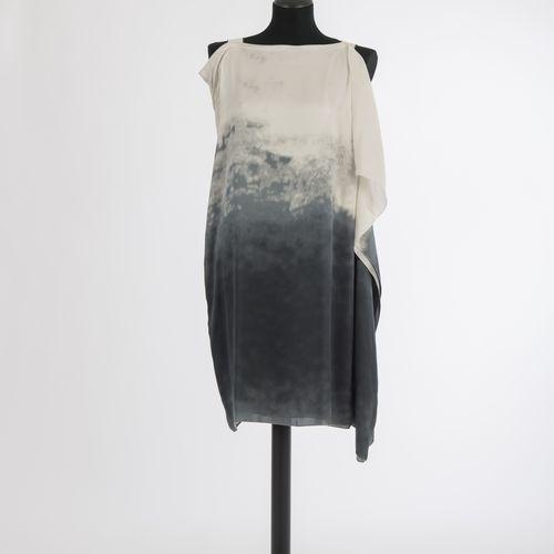 Kleid Bottega Veneta Robe Bottega Veneta, Milan Soie, blanc crème et gris, brete…