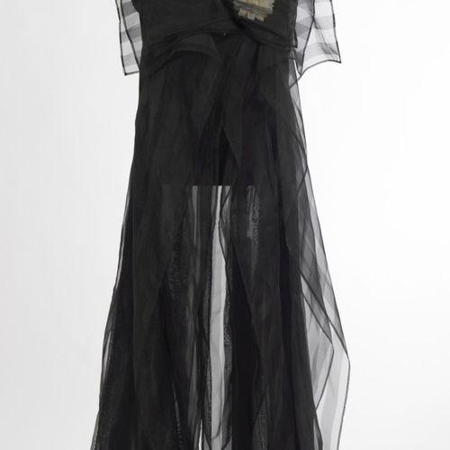 Abendkleid Unbekannt Robe de soirée Inconnue Chiffon, noir, drapé multicouches, …