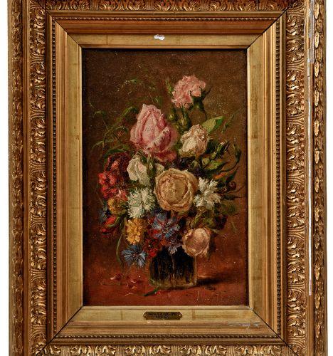 Saint Edme, Ludovic Alfred de: Blumenstrauß in einer Glasvase Saint Edme, Ludovi…