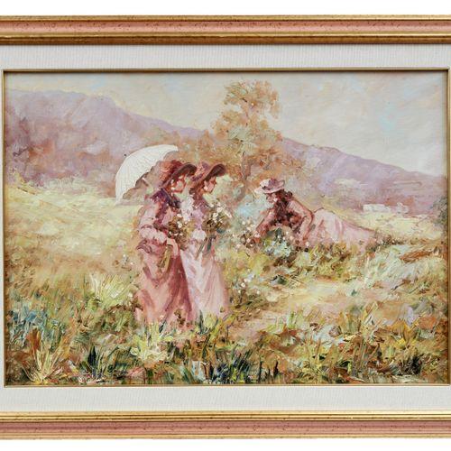 Drei Frauen im Grünen, Italienischer Maler des 20. Jahrhunderts Trois femmes au …