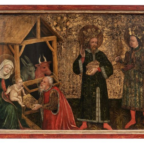 Gotisches Tafelbild mit Anbetung des Jesuskindes durch die Heiligen Drei Könige,…