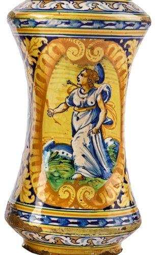Albarello mit der heiligen Philomena von Rom, Sizilien, Palermo, A. 17. Jh. Alba…