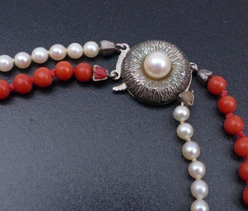Perl Korallen Collier, 20. Jh. Perl Korallen Collier — 20. Jh. — Zweireihig mit …