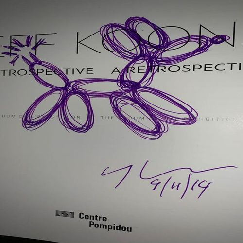 JEFF KOONS Jeff Koons  Balloon Dog    Drawing in purple ink  Signed and dated 20…