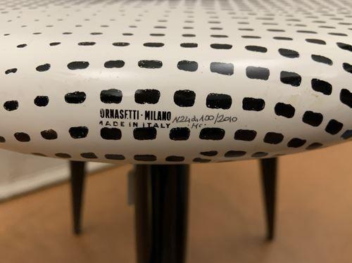 "FORNASETTI Piero (1913 1988) Milano Publisher. ""Bocca"". Tripod stool. Diam. 38 c…"