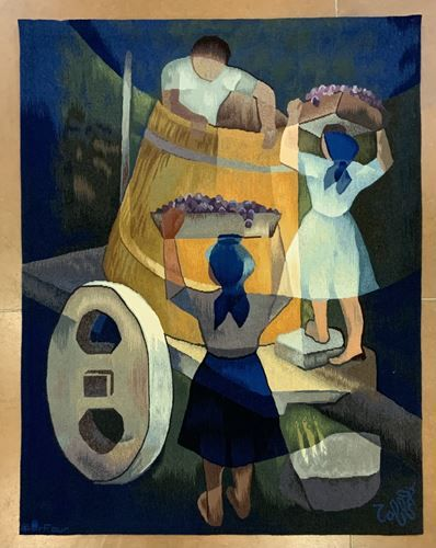 """Louis TOFFOLI (1907 1999). """"The grape harvest"""". Aubusson tapestry, signed in the…"""