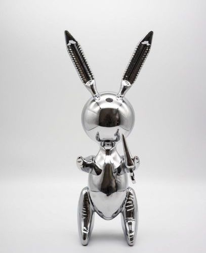 JEFF KOONS Editions Studio after Jeff Koons   Large Silver Rabbit  Sculpture in …