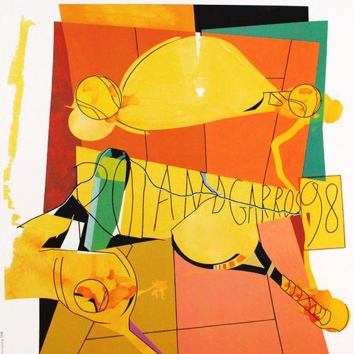 HERVÉ TELEMAQUE Hervé Telemaque (1937)  Roland Garros, 1998    Poster in an Offs…